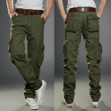 Mens Popular Cotton Cargo Military Slim Fit Combat Camo Work Trousers Long Pant