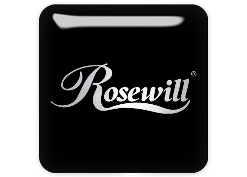 """Sticker Logo Rosewill 1/""""x1/"""" Chrome Domed Case Badge"""