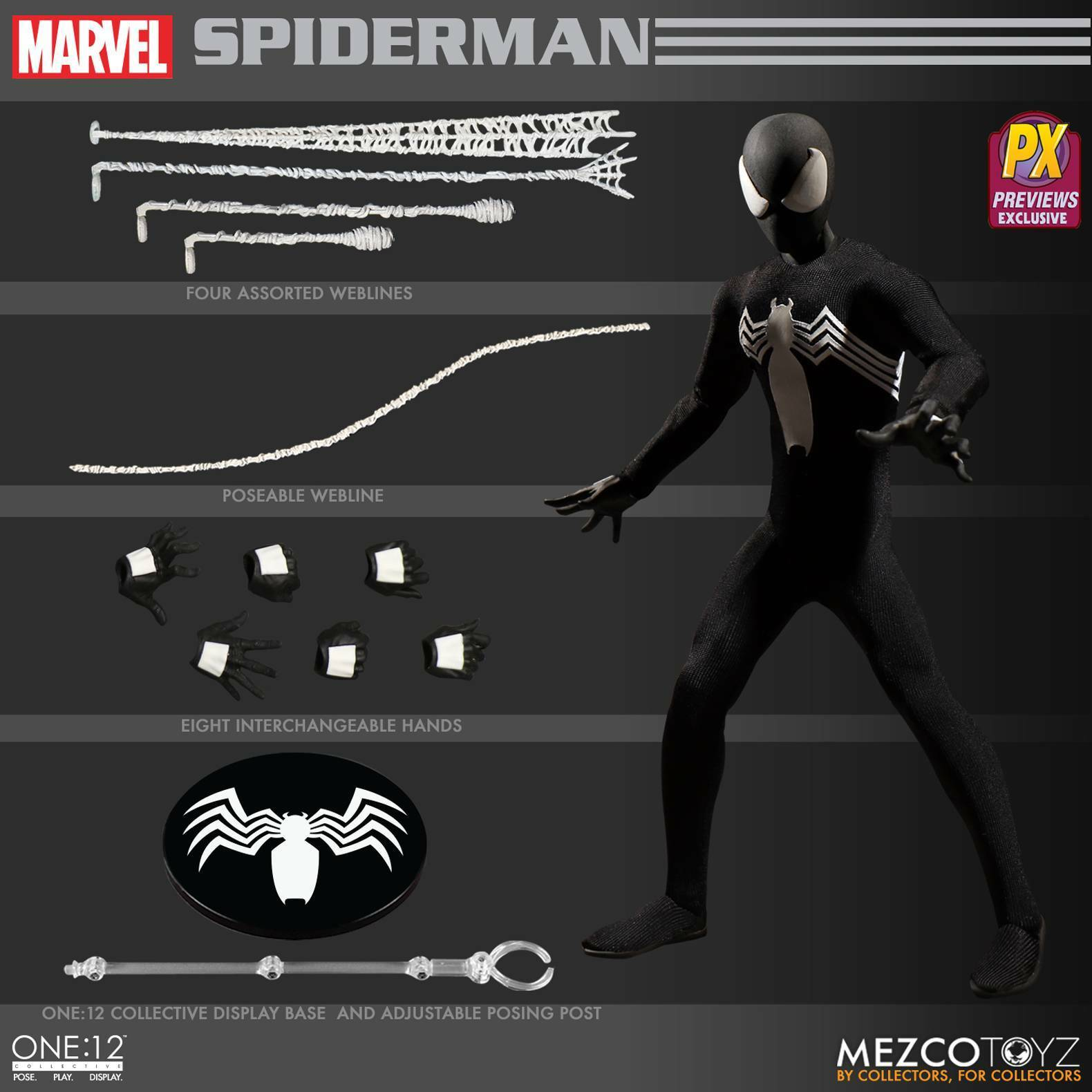 Mezco One 12  Spider-Man Noir Costume Previews Exclusive Action Figure Comme neuf NEUF  meilleure vente