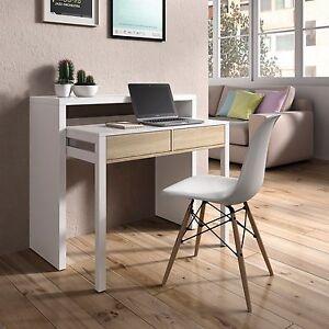 Mesa consola escritorio, mesa extensible, mesa para despacho, Blanco y Roble