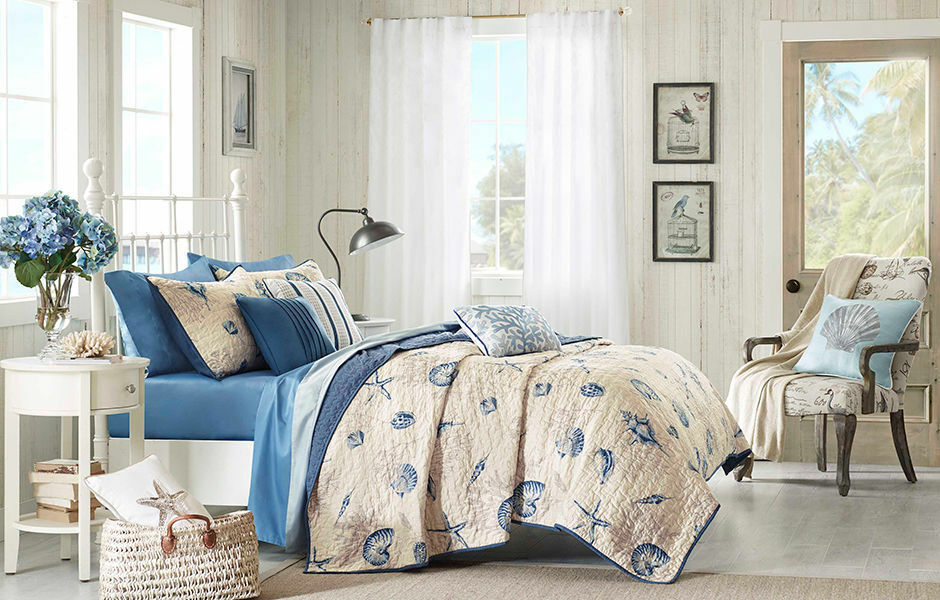 BEACH SEA CORAL blueeeeeE WHITE TAN GREY SHELL BOAT NAUTICAL OCEAN COASTAL QUILT SET