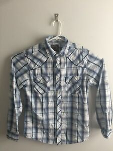 BKE-Buckle-Men-039-s-Medium-Western-Pearl-Snap-Shirt-Plaid-Button-Front-Standard-Fit