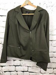 Lane Bryant Women's Jacket Moto Asymmetric Green Stretch Zip up Blazer Size 24