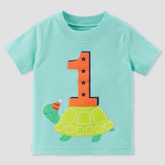 Baby Boys 1st Birthday Short Sleeve T Shirt Turtle Carters 12Months Top NWT