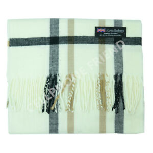 Women-100-CASHMERE-Warm-PLAID-Scarf-pure-White-Wool-MADE-IN-SCOTLAND