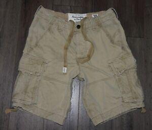De Coleccion Para Hombre Abercrombie Fitch Pantalones Cortos Estilo Cargo De Fatiga Militar Color Caqui Con Cordon 30 Ebay