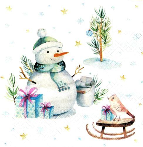 4 papel de Almuerzo Servilletas Para Decoupage Mesa de fiesta Vintage muñecos de nieve y Pájaro