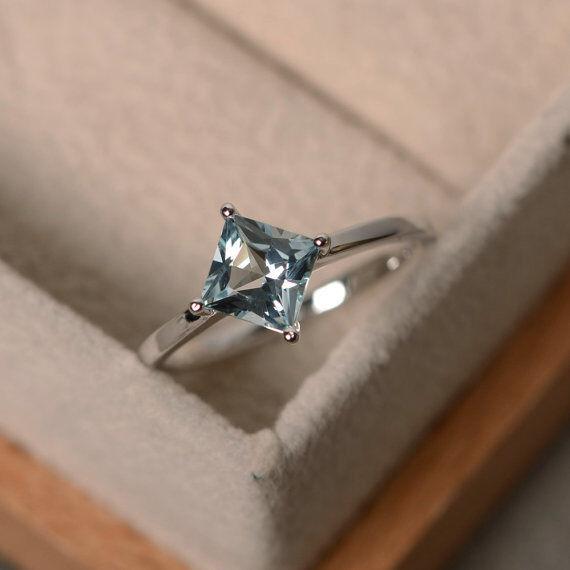 14K White gold 1.50 Ct Princess Real Aquamarine Engagement Wedding Ring Size 4 5