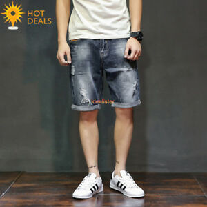 New-Men-039-s-Cotton-Denim-Shorts-Distressed-Ripped-Short-Jeans-Loose-Pants-Summer