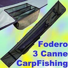 fodero da 190x30 cm da 3 posti per canne da carpfishing e mulinelli sacca pesca