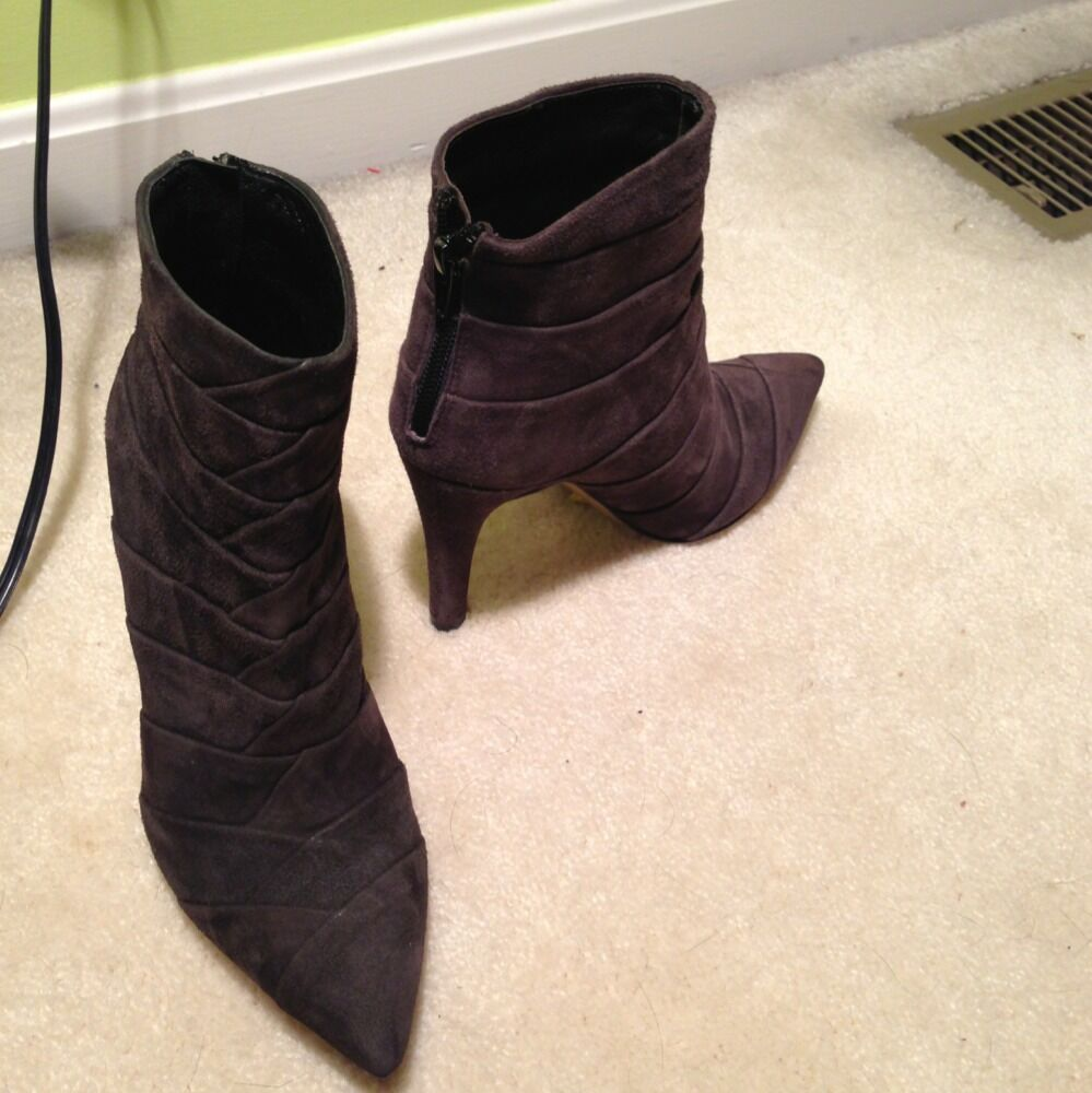 Rebeca Sanver Genuine Suede Leather Made In Spain Heel Boots Sz 35 5 New
