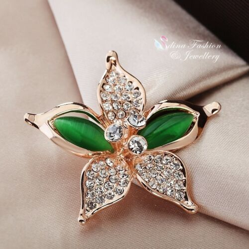 18K Rose Gold Filled Simulated Opal Stunning Lily Flower Emerald Brooch
