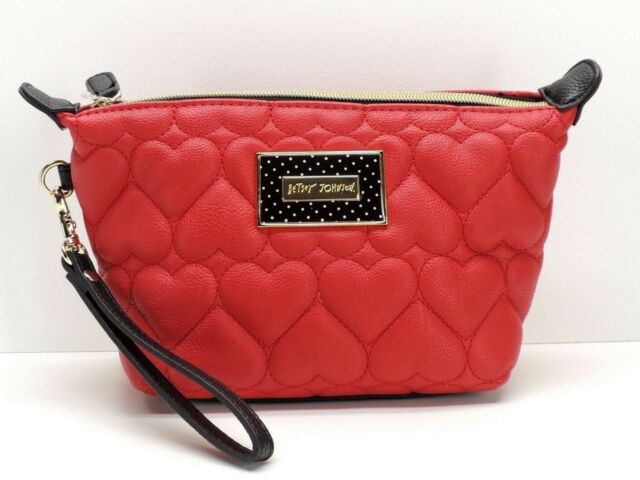 Betsey Johnson Tzoid Cosmetic Bag Wristlet Makeup Pouch Red Black New Nwt