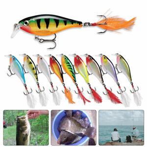 Minnow-Fischkoeder-mit-Hoehenfedern-Haken-lebensechte-3D-Fischaugen-Swimbait