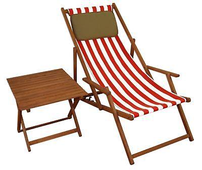 Liegestuhl rot-weiß Strandliege Gartenliege Buche Sonnenliege Kissen 10-314 NKD