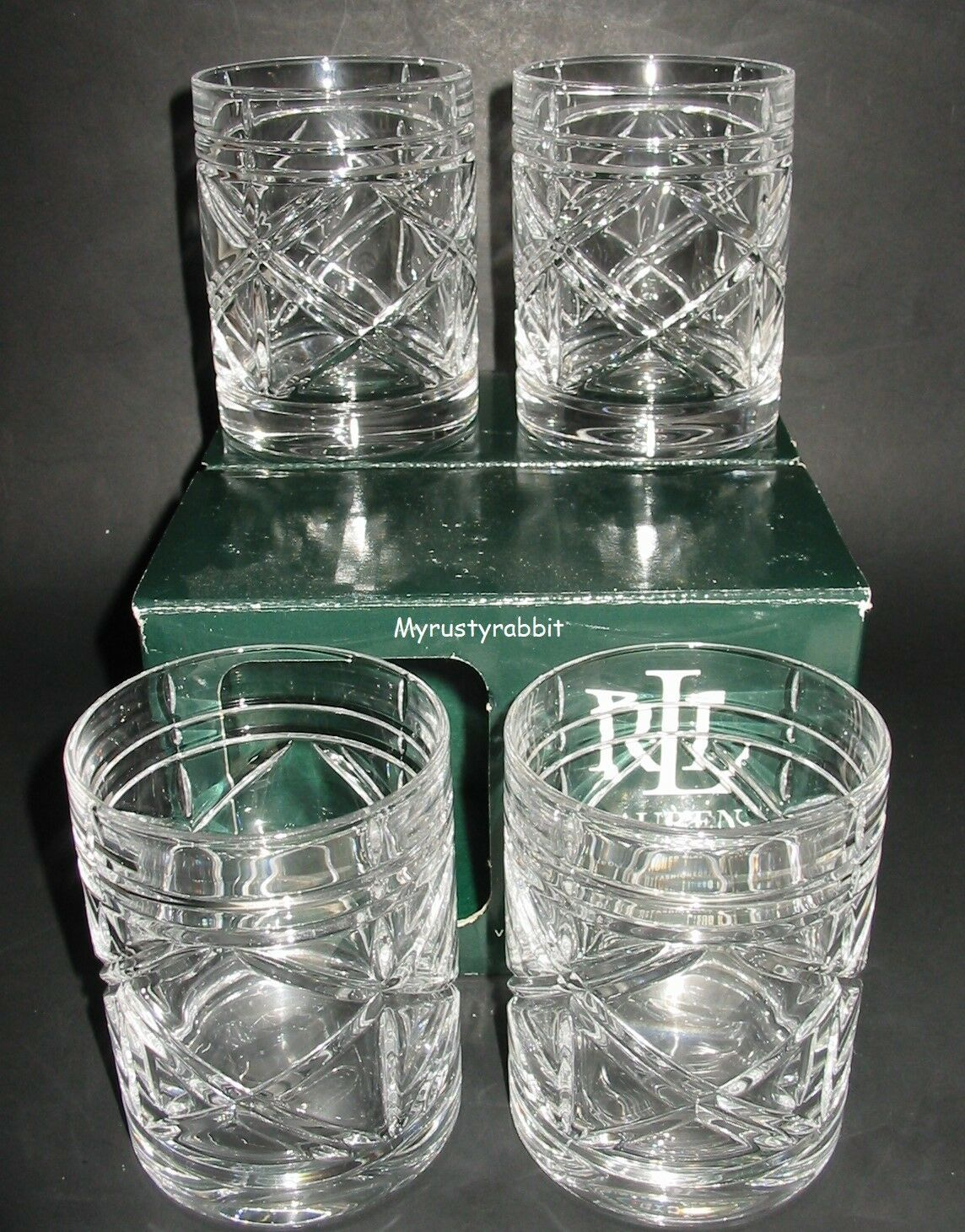 Ralph Lauren Double Old Fashion Glasses - Brogan - Set of 4 - Crystal Boxed