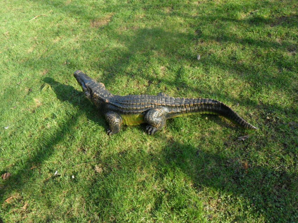 Krokodil Figur 117 cm Deko Garten Gartenfigur Alligator Kaiman Gartenteich Teich