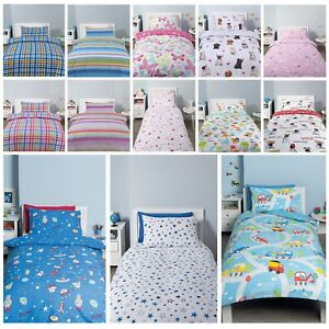 Kids-Reversible-Quilt-Duvet-Cover-amp-Pillow-Case-Bedding-Set-Girls-Boys-Single