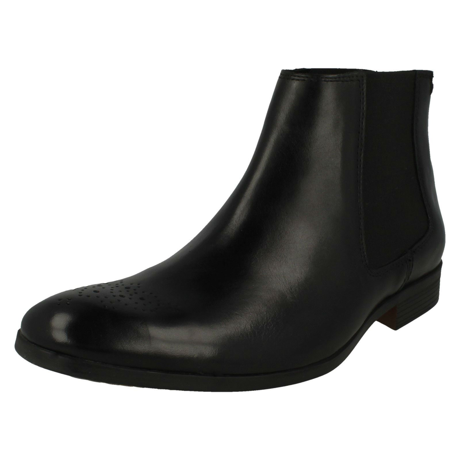 Mens Clarks Brogue Detail Slip On Leather Smart Chelsea Boots Gilmore Chelsea
