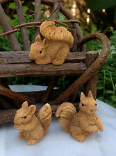 Miniature Squirrels - Fairy Garden, Dollhouse, Tablescape - Set of 3 - Darice