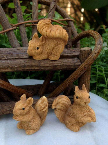 Miniature Dollhouse FAIRY GARDEN Accessories ~ Set of 3 Mini Resin Squirrels NEW