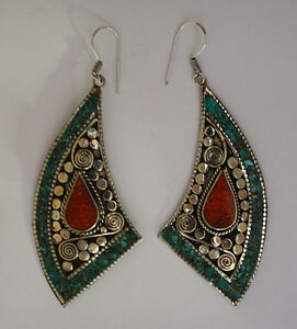 Asian-Fashioned-Jewelry-tibetan-sterling-silver-earrings-turquoise-tribal-ER4