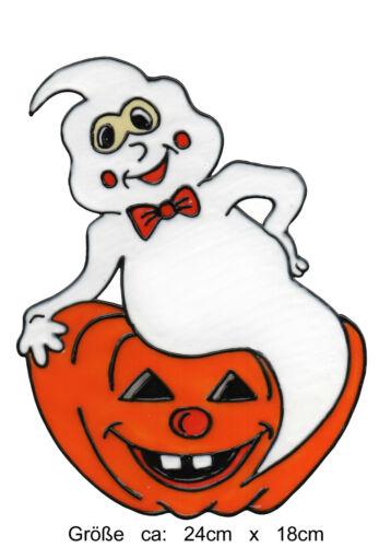 175 Window Color Bild Fensterbild Fensterfolie Halloween Gespenst mit Kürbis