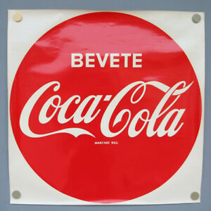 Bevete-Coca-Cola-XXL-Button-Wasser-Nass-Transfer-Aufkleber-1964-NOS-Vintage-66cm