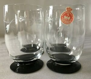 4-Holmegaard-Ranke-Art-Deco-40-039-s-Cut-Glass-Crystal-Black-Base-4-oz-Juice-Glasses