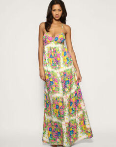 10 Flower Maxi Party Stampa Cruise Dress Strappy Summer Bnwot Topshop Beach 2260446601102 Taglia aOpBxvwBq