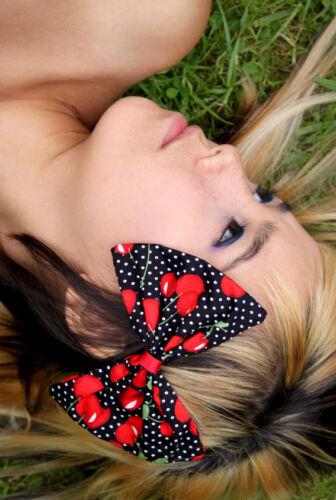 Negro Rojo Cereza Grande Cabello Moño Rockabilly 50s Land Girl Kawaii Frutas Para Mujer