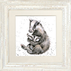 Wrendale-Designs-034-Me-amp-Mine-034-Badger-23cm-Framed-Picture-FCS176-White