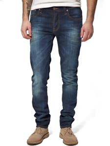 Nudie-Herren-Slim-Fit-Used-Look-Stretch-Jeans-Hose-Grim-Tim-Org-White-Knee