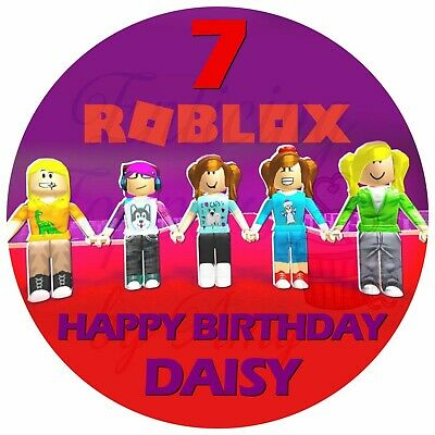 Girls Roblox EDIBLE Cake Topper Frosting Sheet Personalized