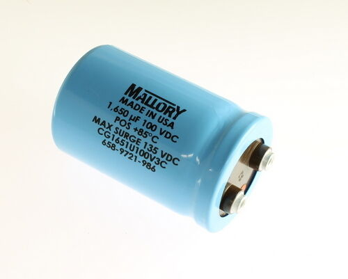 1000uF 100VDC Mallory Large Can Electrolytic Capacitor CG102U100R4C