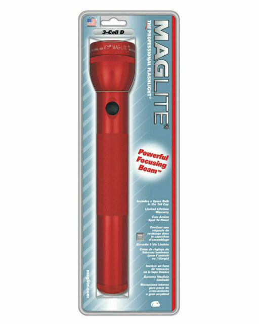 MAGLITE 3-D Cell Flashlight Red Krypton Mag Lite Maglight Mag-lite 3 D Cell