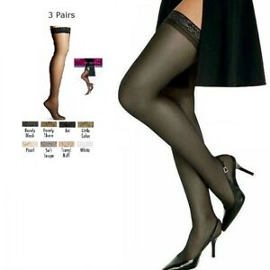 e78d650223e 3 Hanes Women s Silk Reflections Thigh High Hi Stockings Sheer Toe ...