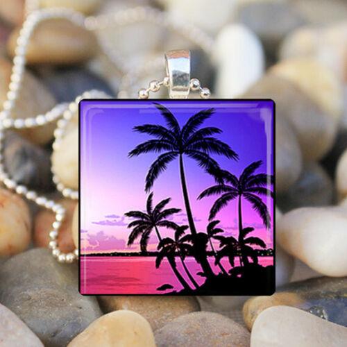 Sunset Beach Vacances de rêves océan palmiers Verre Carrelage Collier Pendentif Bijoux