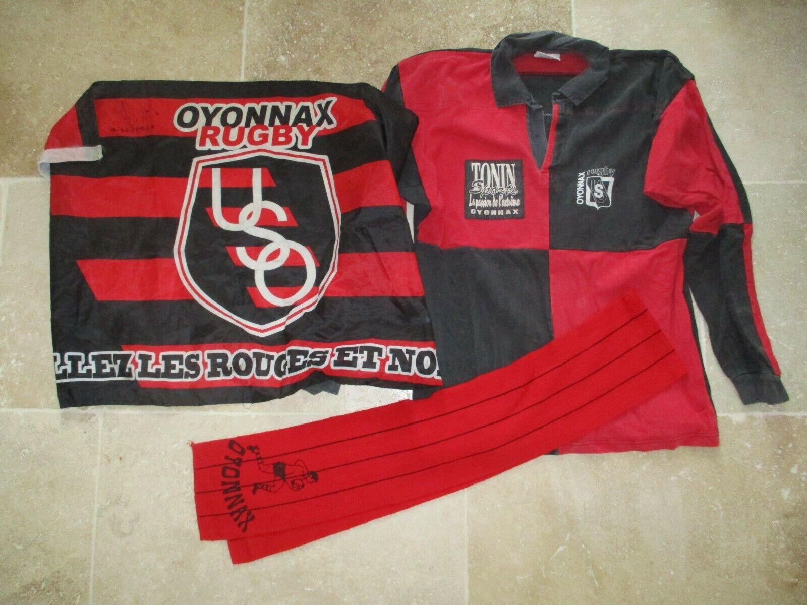 Rugby shirt oxonnax worn nº 22 vintage shirt xl + autographed + flag svoituref