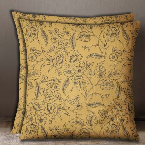 Floral Print Blue Cushion Cover Cotton Poplin Square Pillow Case Throw 2 Pcs