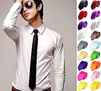 Men Wedding Narrow Skinny Slim Plain Solid Satin Arrow Party Casual Tie Necktie