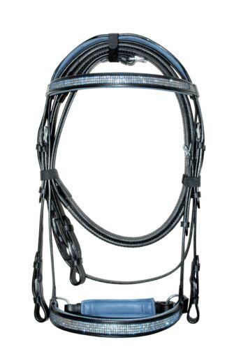Dressage Bridles Brown leather Blue crystal on Browband/& Noseband Reins