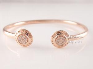 86c73a7fae0 Details about Genuine PANDORA Signature OPEN Bangle ROSE GOLD Plated  Bracelet 580528CZ PICK Sz
