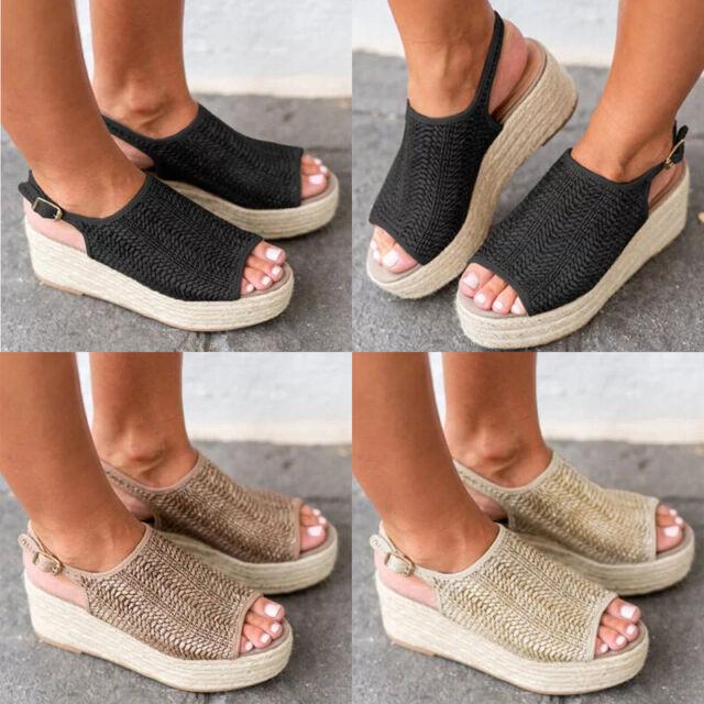 Womens Solid Color Platform Espadrilles Sandals Slip On Casual Shoes Size 6-9