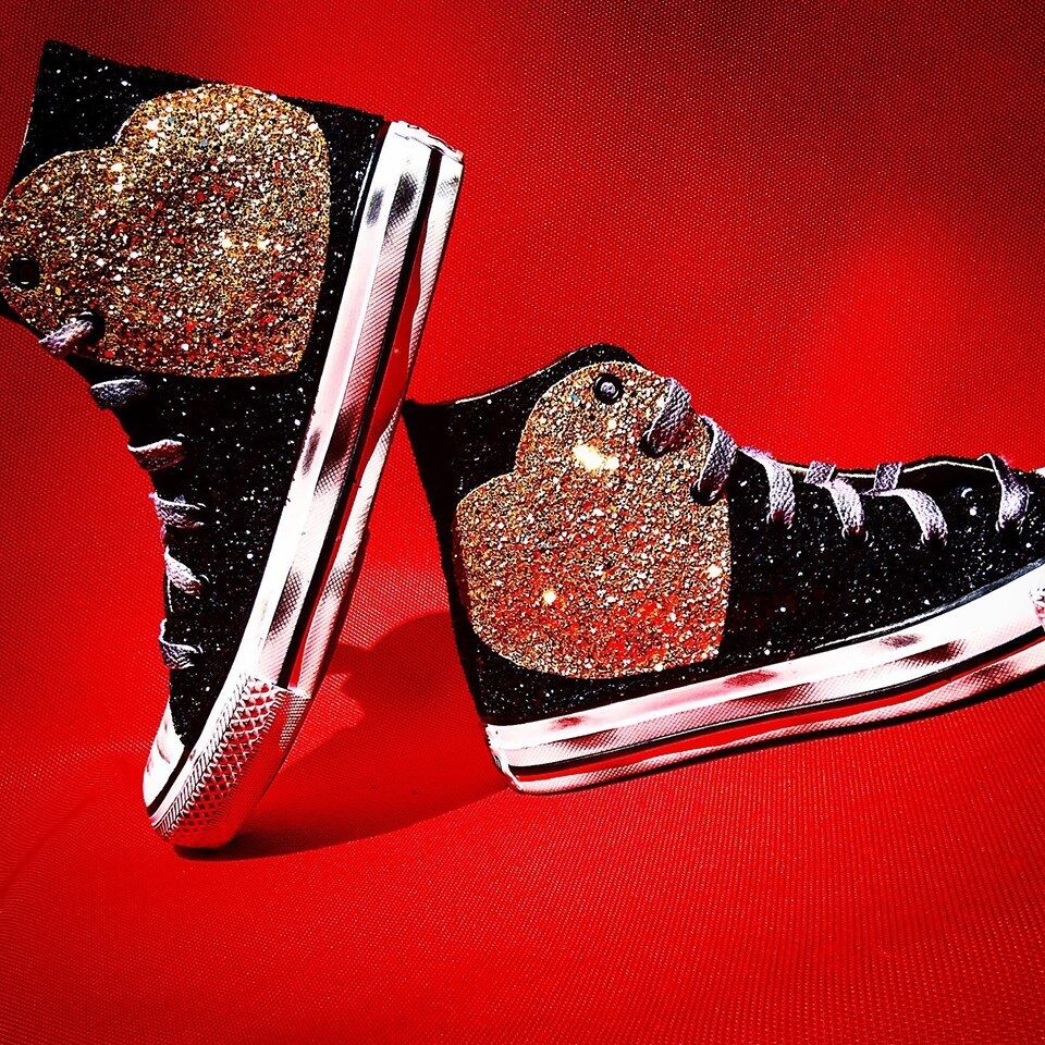 converse all star con cuore glitter in glitter oro e glitter cuore nero 7acfa6