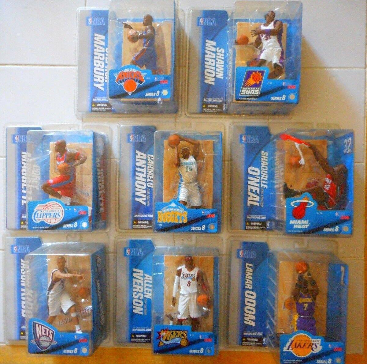 SET MCFARLANE S8 NBA/ALLEN IVERSON/SHAQUILLE O'NEIL/CARMELO ANTHONY/MARBURY
