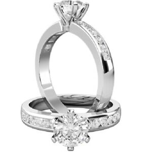 0.96 Ct Round Cut Moissanite Engagement Superb Rings 18K Solid White Gold Size 6