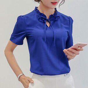 Loose-Top-Summer-Chiffon-Women-Ladies-Short-Sleeve-Shirt-Blouse-Fashion-T-Shirt