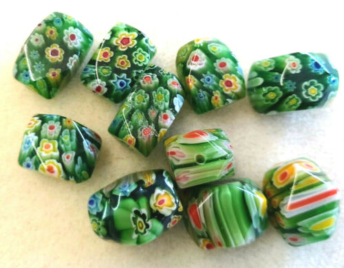 Millefiori Grande Pépite Perles-min 50gms-Varigated Green /& Multi Fleurs