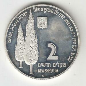 1998-Holy-Land-Wildlife-Stork-and-Fir-Tree-PR-Coin-2NIS-28-8g-Silver-2